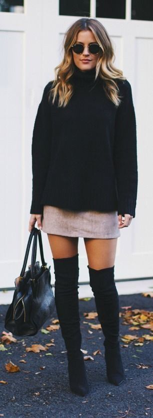 I have a couple tweed skirts similar and have over the knee boots. I just need a black sweater like this.