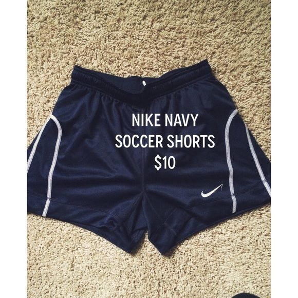 Navy Soccer Shorts Ask any questions you have below! Also check out my bundle deal! BARLEY WORN AND IN PERFECT CONDITION! ☺️ Nike Shorts
