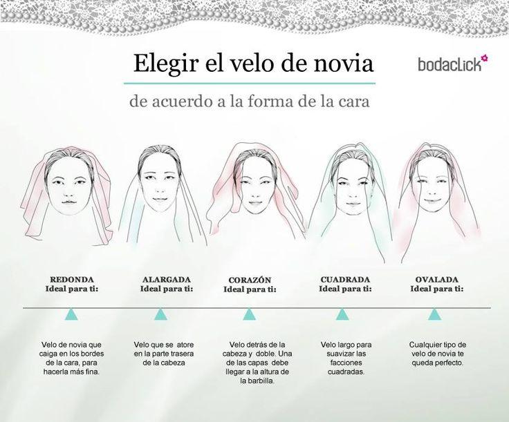 ¡Cuidado al elegir el velo de novia! éste tiene que ir de acuerdo a la forma de tu cara para resaltar y afinar tus rasgos. #bodas #velo #novia #consejos