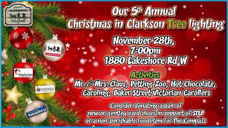 Christmas in #Clarkson Christmas Tree lighting...Thurs Nov 28th. #Mississauga #Carols #HotChocolate #Santa