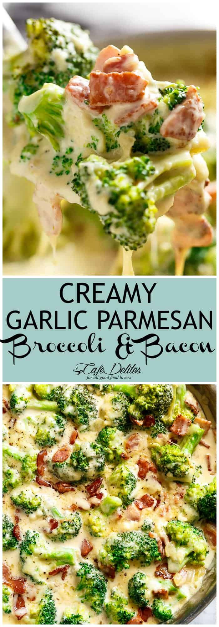 Creamy Garlic Parmesan Broccoli & Bacon is an unforgettable side dish! Pan fried broccoli and crispy bacon are baked in a cheesy creamy parmesan garlic sauce! Topped with bubbling mozzarella, this recipe is guaranteed to convert ANY non-vegetable lover to fall head over heels! And bonus? It's low carb!