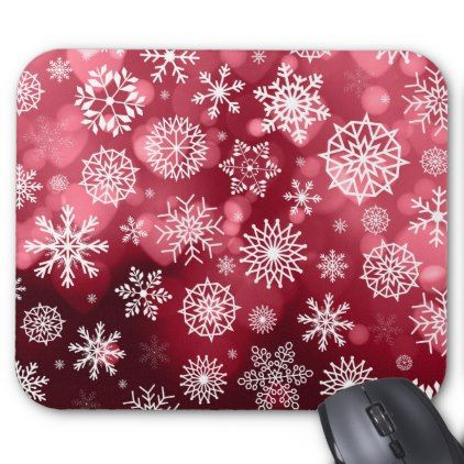 Snowflakes on a Valentine Background | Mousepad - valentines day gifts love couple diy personalize for her for him girlfriend boyfriend
