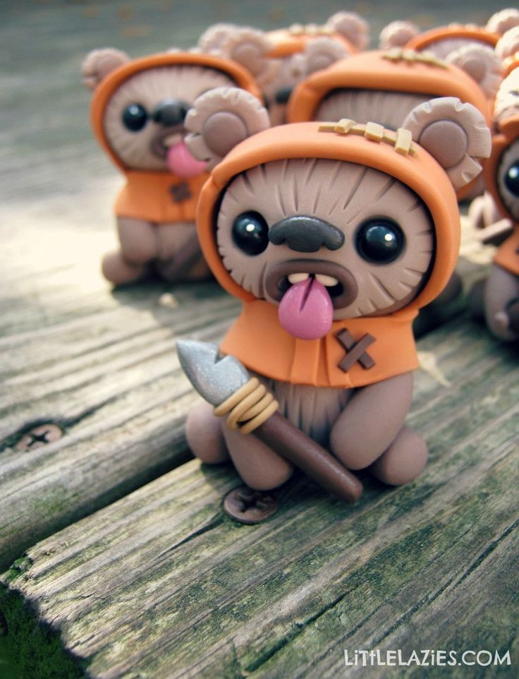 Star Wars EWOKS by Little Lazies. Made from polymer clay. May the 4th be with you!