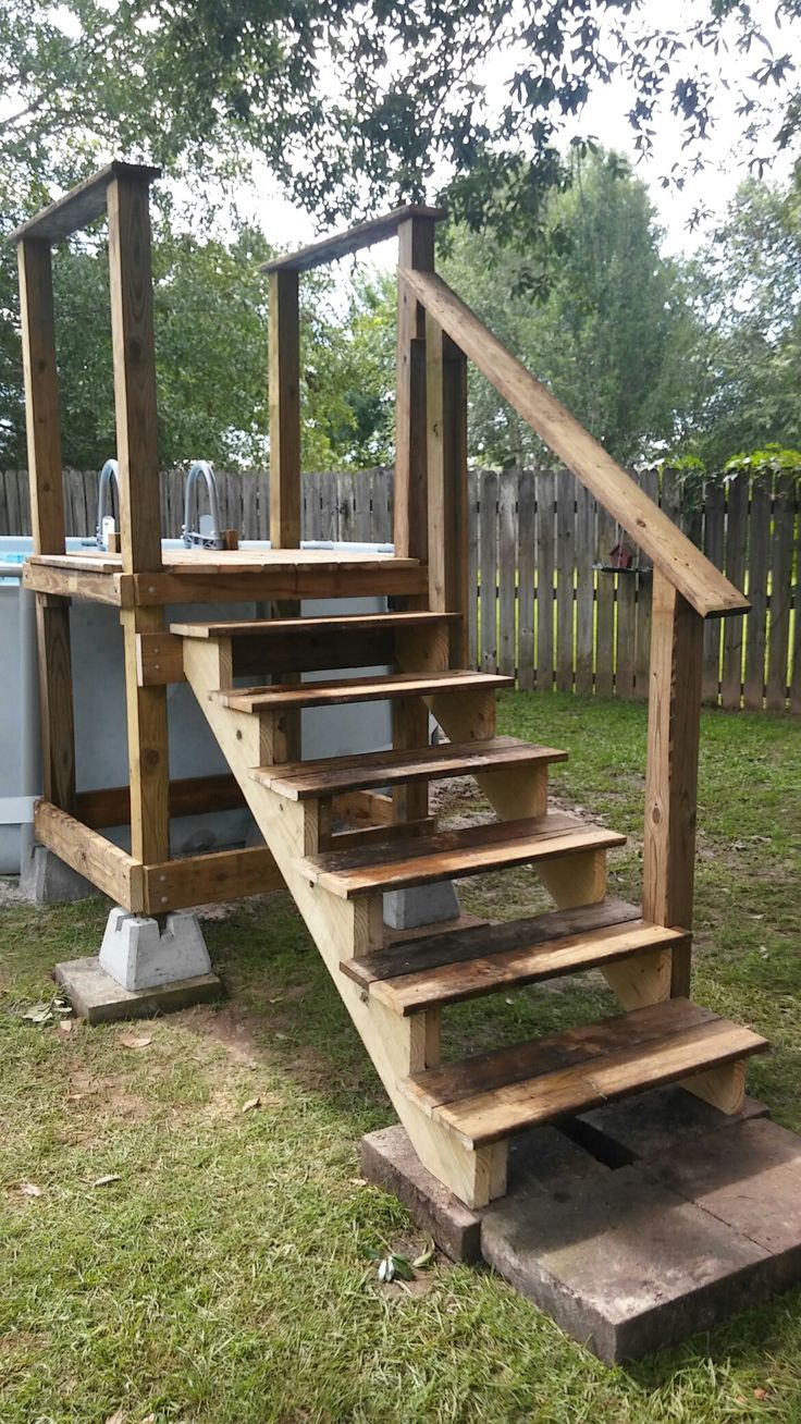 pool access platform wrepurposed pool ladder going into pool pinteres - Above Ground Pool Steps Wood