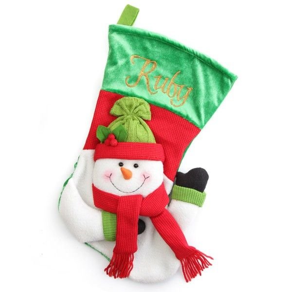 Personalised Stocking   3D Snowman Christmas Stocking