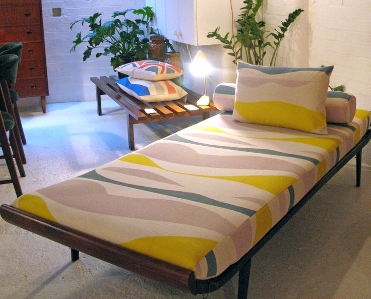Day bed   re-upholstered in exclusive Tamasyn Gambell fabric