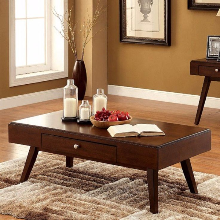 $256.82   Kinley Midcentury Modern Coffee Table By Furniture Of America   Finished in a brown cherry, this set will provide a warmth to any living space.