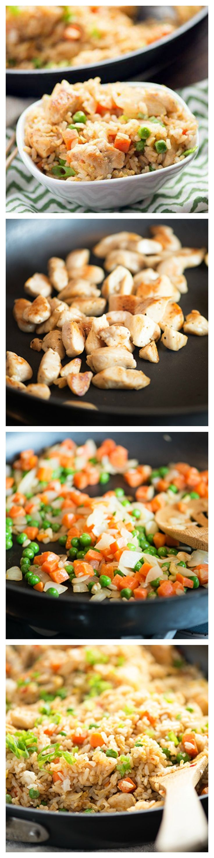 """Easy Chicken Fried Rice is the answer to the question, """"what's for dinner tonight?"""" Try it out!"""