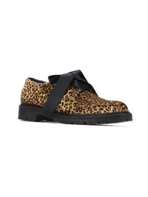 Saint Laurent туфли с леопардовым принтом и шнуровкой