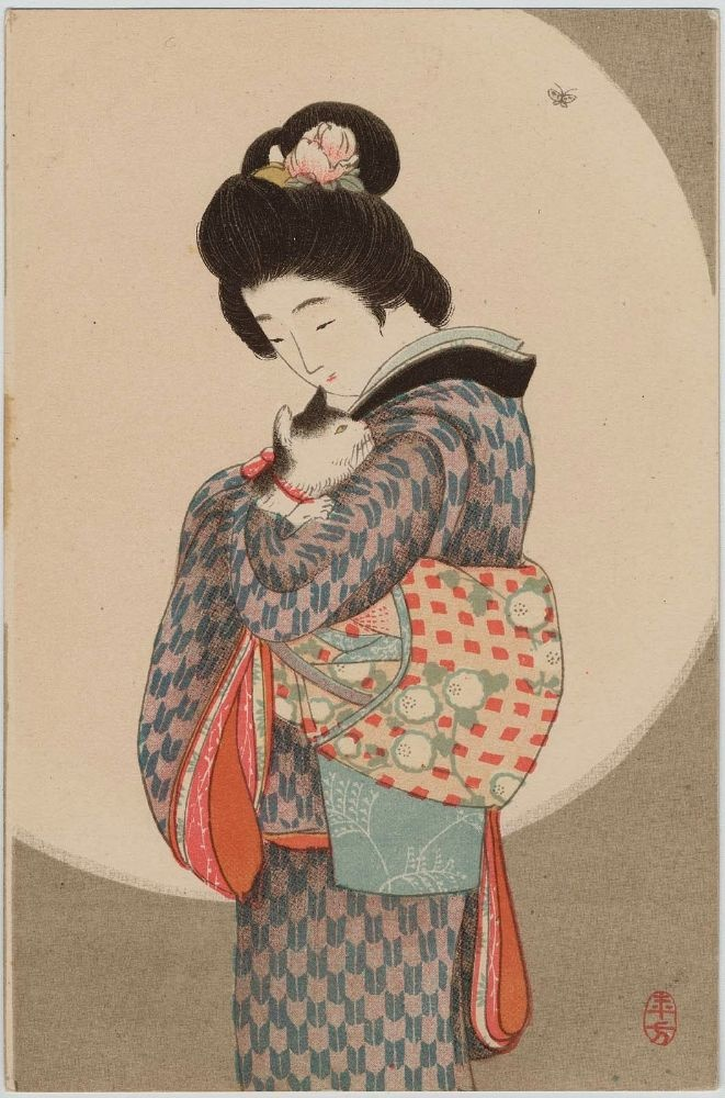 """Merchant's Daughter"" - Japanese Postcard by Mizuno Toshikata (1866-1908) - Late Meiji era"
