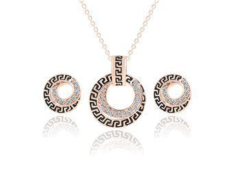 smyckeset halsband och örhängen gnistrande nytt modernt fint fräckt