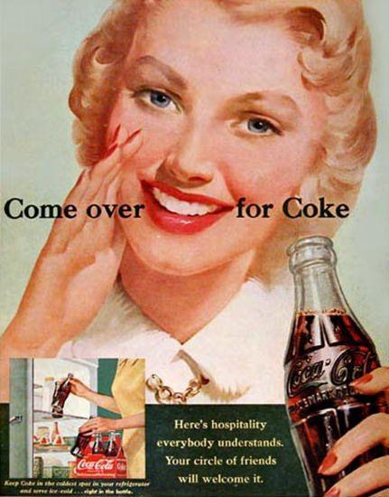 Coca-Cola Girl 1951 Come Over For Coke - www.MadMenArt.com | Coca-Cola is more…