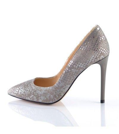 Pantofi stiletto sarpe gri