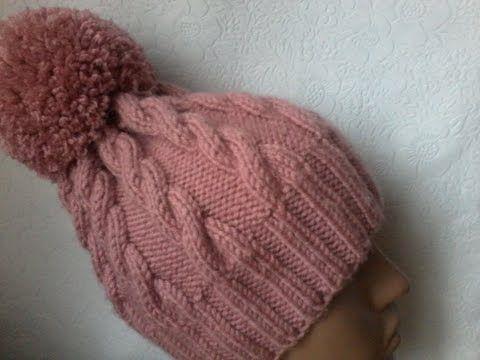 Вязание шапки с косами спицами. - YouTube