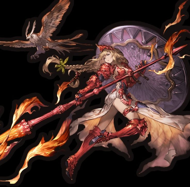 1girl armor armored_boots armored_dress athena_(granblue_fantasy) bird blonde_hair boots braid breastplate dress fire gauntlets granblue_fantasy helmet highres holding holding_weapon lance long_hair looking_back minaba_hideo owl pauldrons polearm shield solo transparent_background twin_braids weapon