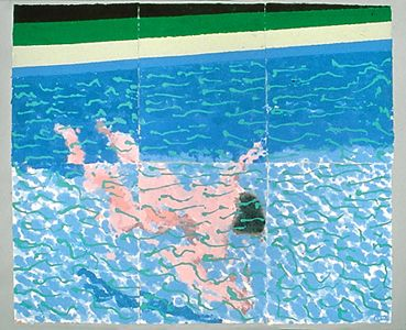 DAVID HOCKNEY / Paper Pools / Swimmer Underwater, 1978  colored and pressed paper pulp 72x85 1/2 in.
