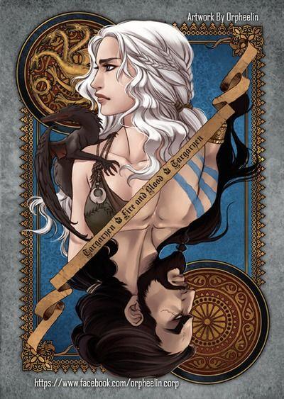 First series of Game of Thrones cards by Orpheelin | Khal and Khaleesi #got #agot #asoiaf