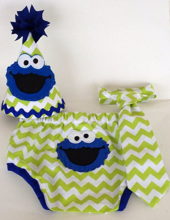Boys 1st Birthday Cookie Monster Cake Smash by RainbowTreeBoutique, $46.00