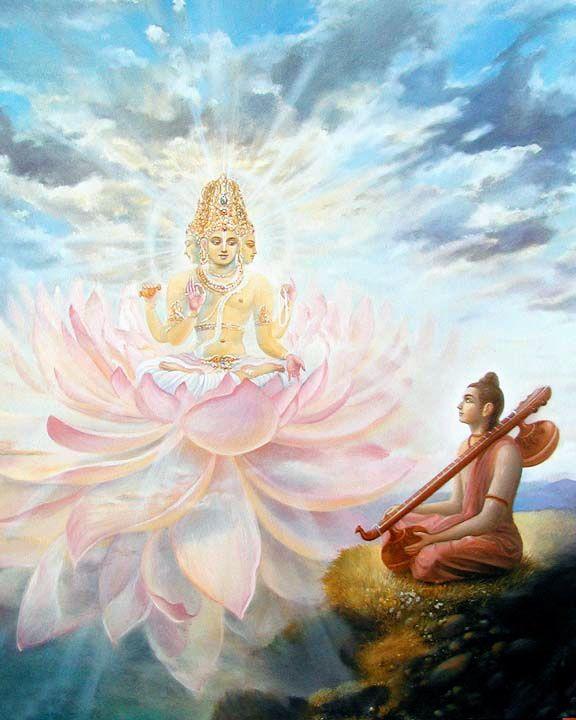 El Señor Brahma instruyendo a su discípulo Naradamuni