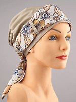 Khaki Looped Turban Chemo Cancer Hat Free Shipping Finishing Scarf Hair Loss | eBay