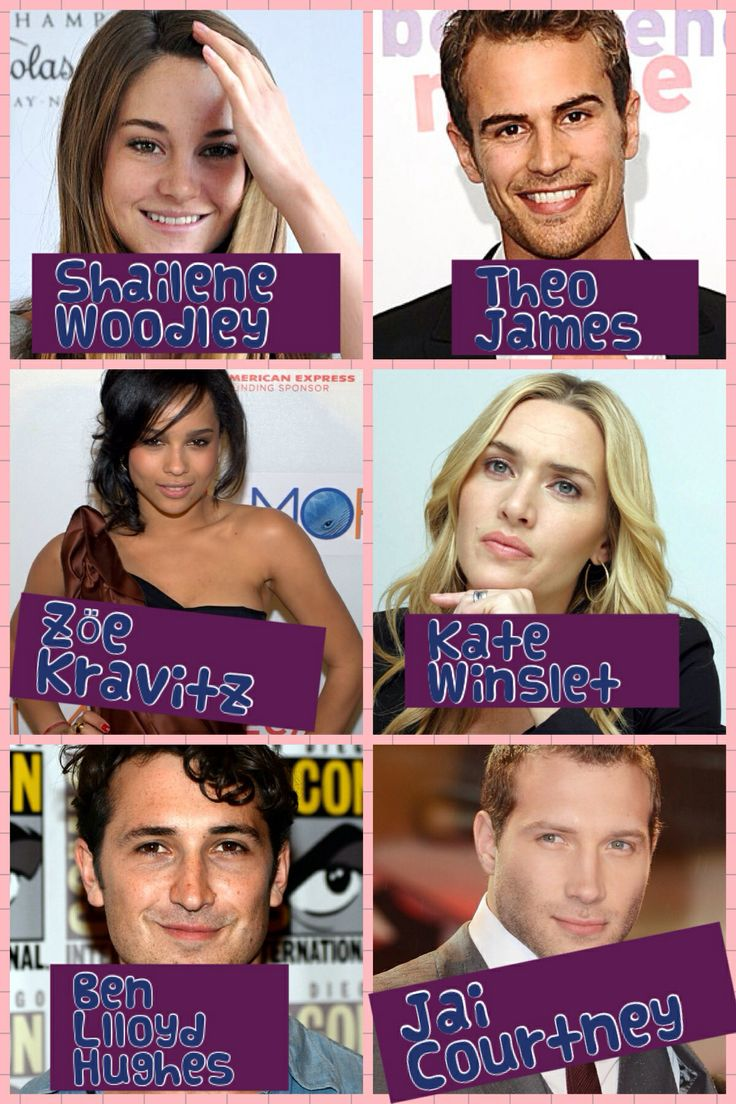 Characters from Divergent!!  Tris: Shailene Woodley  Four/Tobias: Theo James  Christina: Zöe Kravitz  Jeanine: Kate Winslet  Will: Ben Llloyd Hughes  Eric: Jai Courtney