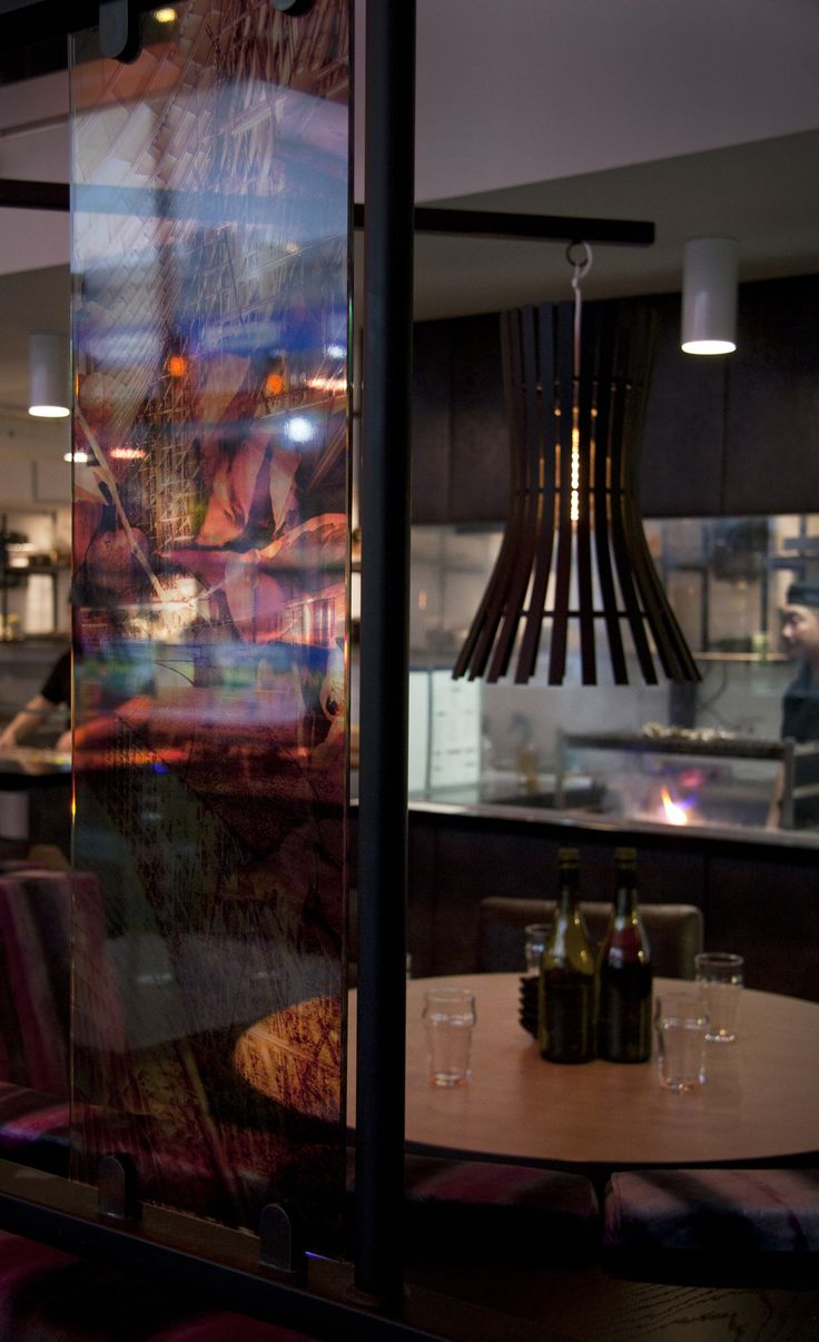 Glass decoration. Restaurant interior. Zan Restaurant. Lists Galleria.