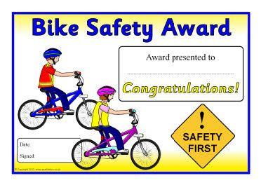 Bike safety award certificates
