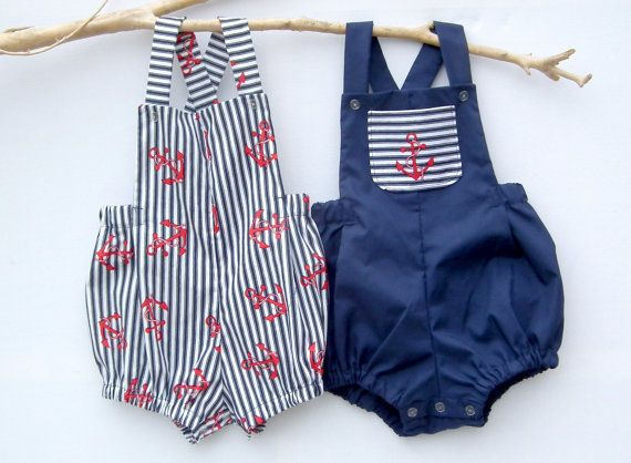 Boys rompers- Baby boys rompers - Nautical Romper - Summer - Navy/Blue - Stripe - Anchor - Sunsuit - Sailor - Toddler - Matching Siblings
