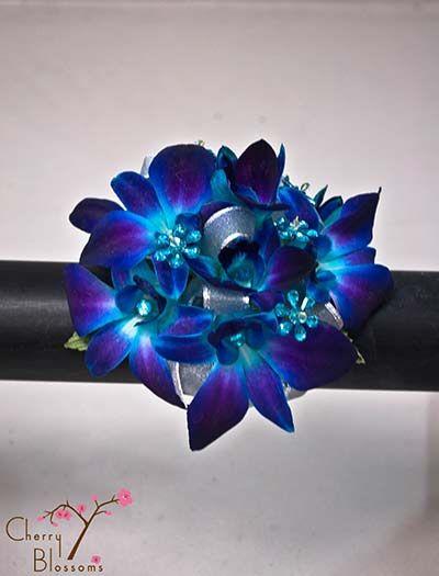 Blue Orchid / Flower Gems Wrist Corsage | Cherry Blossoms Florist | Westminster, CO