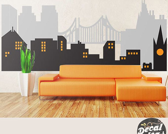 City Skyline, Superhero Wall Mural, City Skyline Wall Decal, Vinyl Wall Decals- Superhero Mural Personalized Decals, peel and stickETS50079