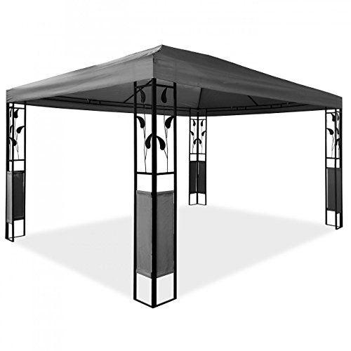 Pavillon 3x4 Wasserdicht Stabil, CRAVOG Luxus Hochwertiges Polyester Gartenpavillon mit 4 Vorh�ngen Stahlgestell f�r Party und Oktoberfest, Farbwahl (Anthrazit)