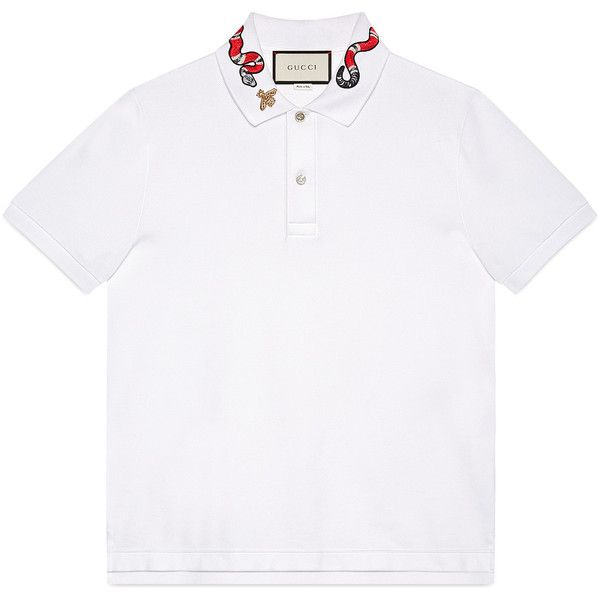 Gucci Cotton Polo With Snake Embroidery ($535) ❤ liked on Polyvore featuring men's fashion, men's clothing, men's shirts, men's polos, men, ready-to-wear, t-shirts & polos, mens polo shirts, mens embroidered shirts and mens cotton shirts