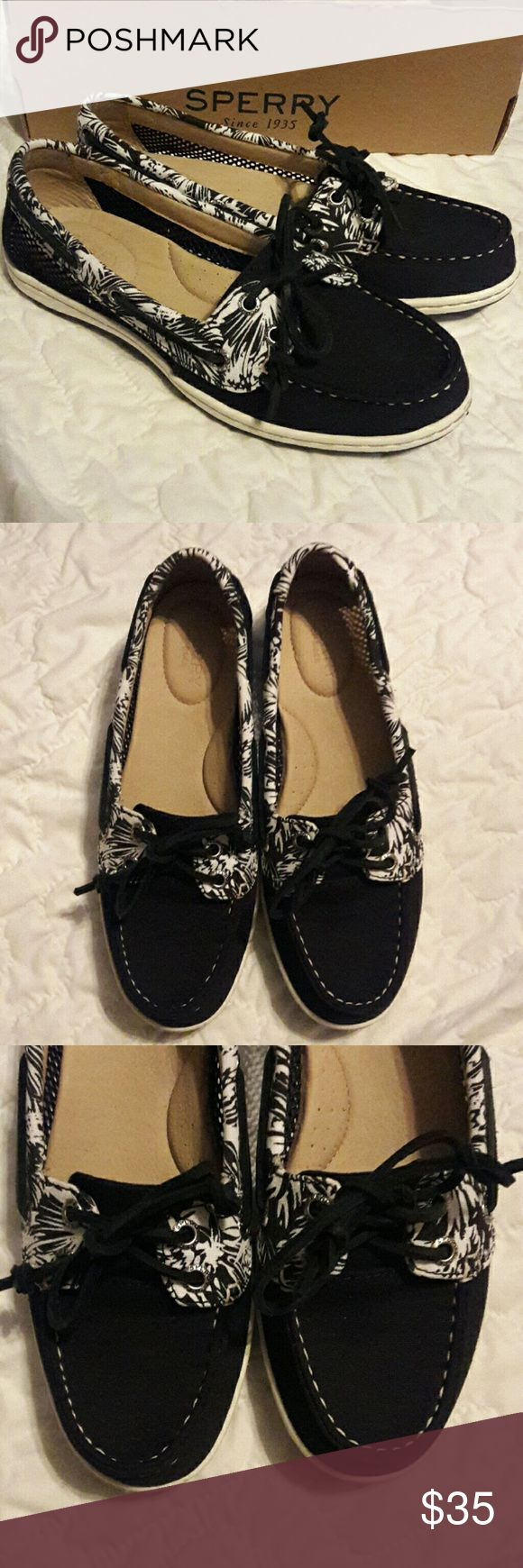Brand New Sperrys NWOT! Brand new, never worn Sperrys! Firefish Tropicali Black & White. Beautiful black canvas, black and white tropical pattern with unique open netting style on sides. Cushioned insoles. Beautiful shoes! 💕 Sperry Shoes