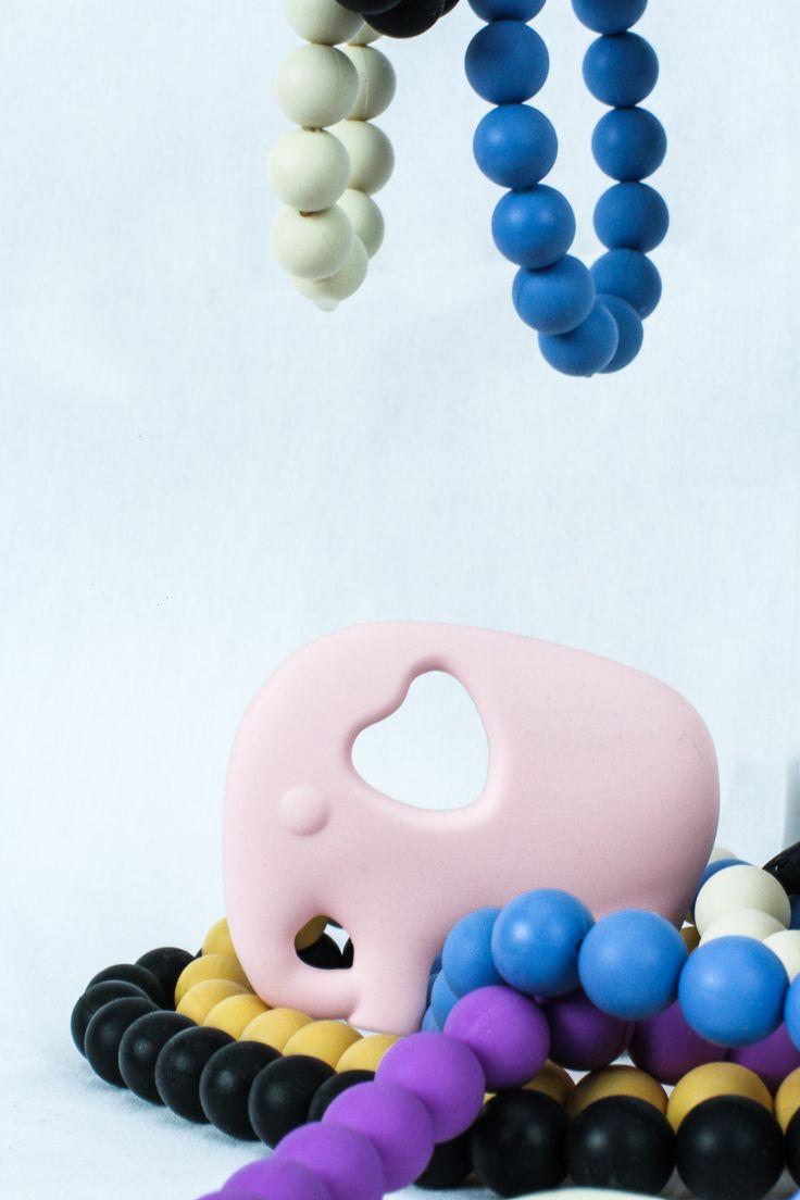 Gummy Wears Elephant teether in Fairy Floss on a bed of Gummy Wears Chewellery!