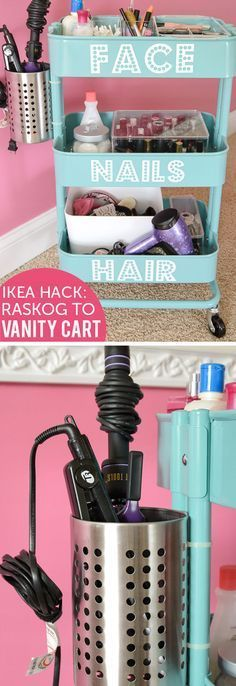 Ikea Vanity Cart | Easy Storage Ideas for Bedrooms Closets | DIY Organization Ideas for Bedrooms Teens