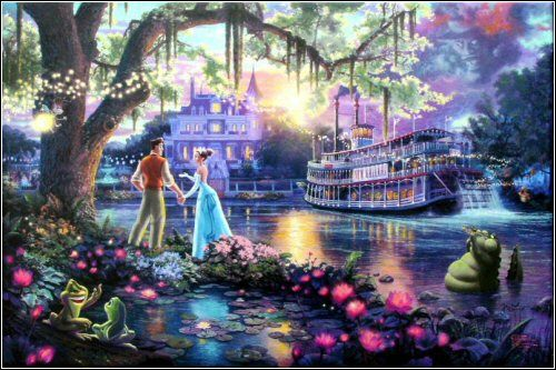 """The Princess and the Frog""  The first painting in Thomas Kinkade's New series  ""Disney Discoveries"""