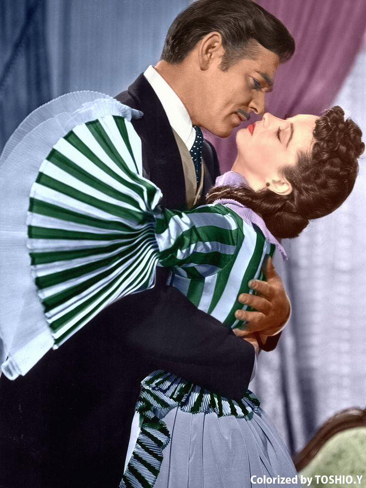 Clark Gable and Vivien Leigh in Gone Wind The Wind, (1939)