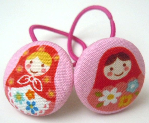Pink Matryoshka Ponytail Holders