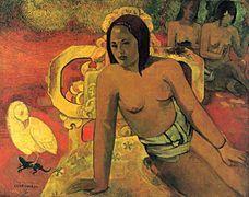 Paul Gauguin — Haïti - Primitieve. Confrontatie afgodselementen (cultuur) en de primitieve staat van de mens zelf (natuur).