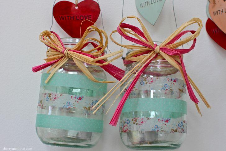 washi tape Jam Jar Lanterns