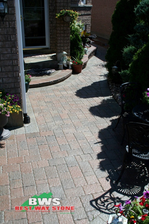 #outdoor #entrance: Best Way Stone > Paver: Galleria (Rustic Salmon Mix) available at our store at 3500 Mavis Rd, Mississauga, ON L5C 1T8