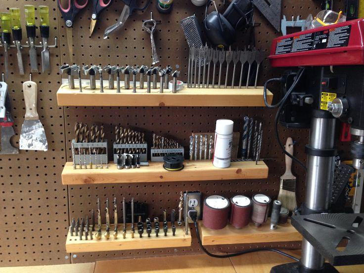 Drill bit storage, well organized.