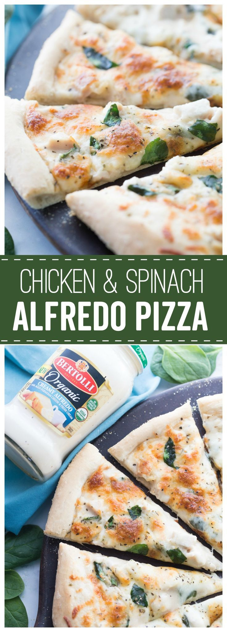 Chicken & Spinach Alfredo Pizza - Made To Be A Momma