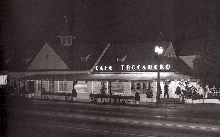 """One of my time travel destinations would be this place: the Cafe Trocadero at 8610 Sunset Blvd. It opened on September 18, 1934 by Billy Wilkerson, owner of The Hollywood Reporter. (The building had once been a warehouse where Wilkerson had stored his alcohol after the repeal of Prohibition.) It very quickly became Hollywood's premier nightclub of the mid-to-late 1930s, and was where David O. Selznick chose to hold the post-premiere party for """"Gone with the Wind"""" on December 28, 1939."""