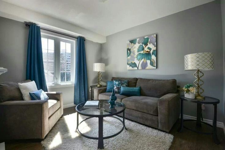 Love the gray walls with blue accents home decor - Grey and blue living room furniture ...