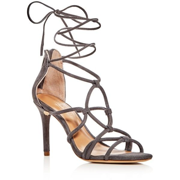 Halston Heritage Brielle Caged Ankle Wrap High Heel Sandals (£284) ❤ liked on Polyvore featuring shoes, sandals, grey, gray shoes, ankle strap heel sandals, halston heritage, grey shoes and grey sandals