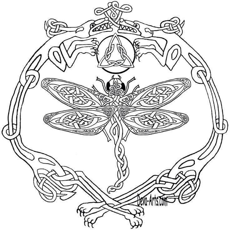 Coloring sheet Celtic Dragonfly drawing Celtic designs