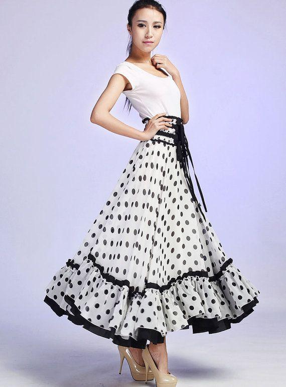 White maxi skirt chiffon dots skirt women long skirt by xiaolizi