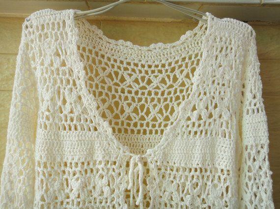 Crochet Cardigan Long Sleeve White Womens por Tinacrochetstudio