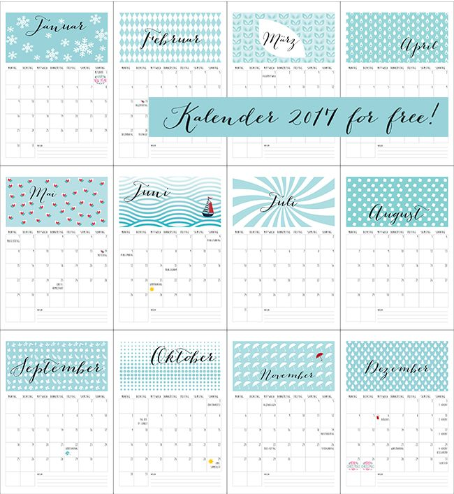 Free printable. Kalender 2017 zum freien Downlaod auf Ynas Design Blog. Free Download Calendar 2017,